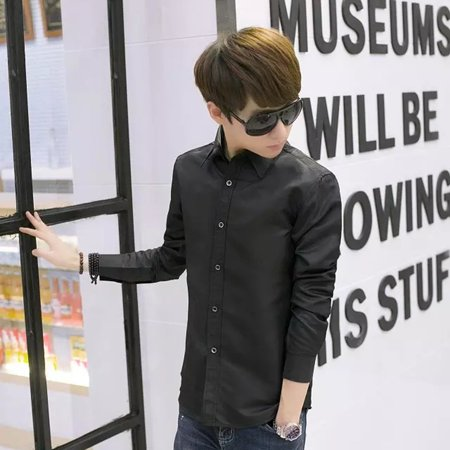 Men's Vocational Long-sleeve Personality Ultra-slim Solid Color Casual Shirts - image 3 of 7