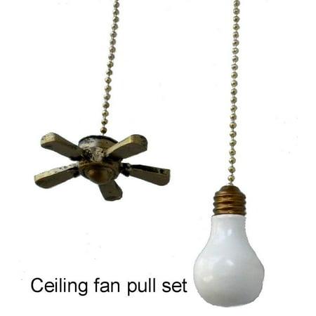 Ceiling Fan Light Bulb Lightbulb Shaped Pull Chain Extender Set Stop
