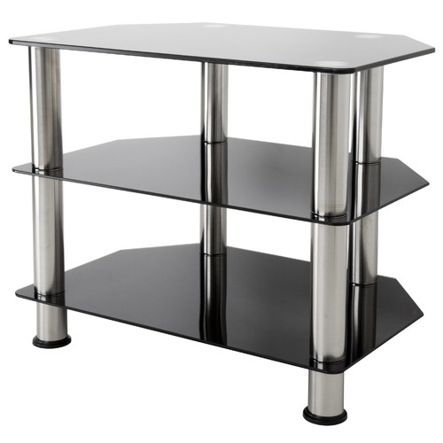 """AVF Black Glass Floor Stand with Chrome Legs for TVs up to 32"""""""
