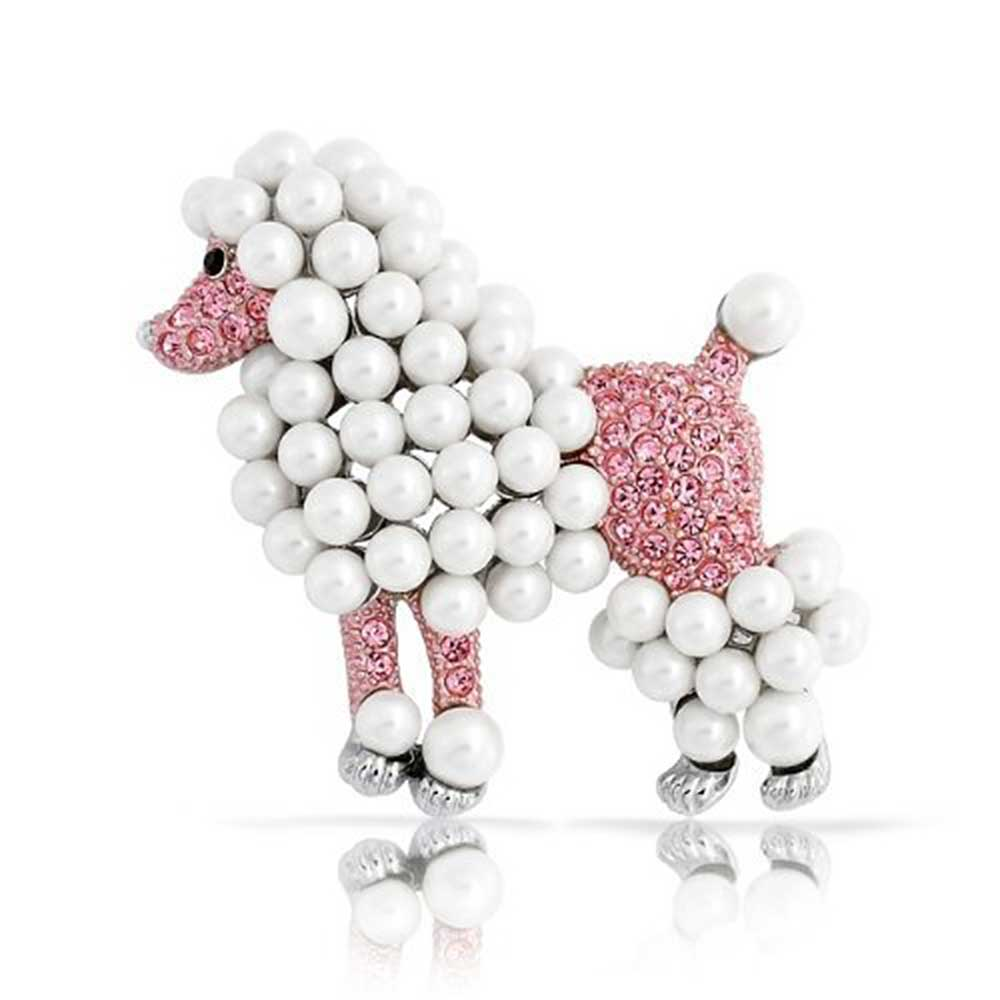 Bling Women Fashion Necklace Fabric Scarf Big Poodle Dog Pendant Pink Black Blue