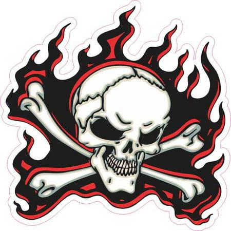 5in x 5in Red Flame Skull Bumper Sticker Car Vinyl Truck Window Decal