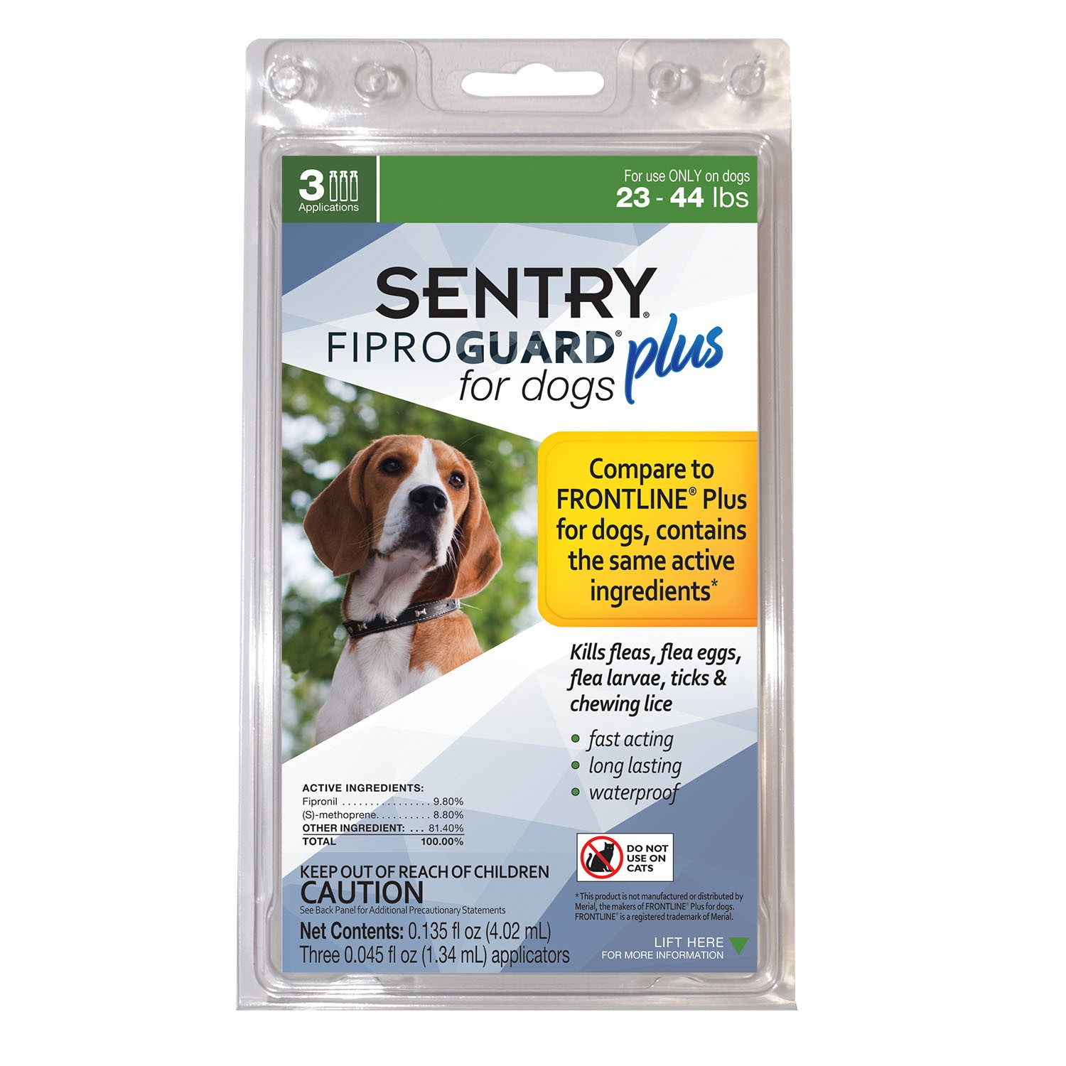 Sentry Fiproguard Plus Squeeze-On for Dogs, 23-44 Pounds, 3 Count