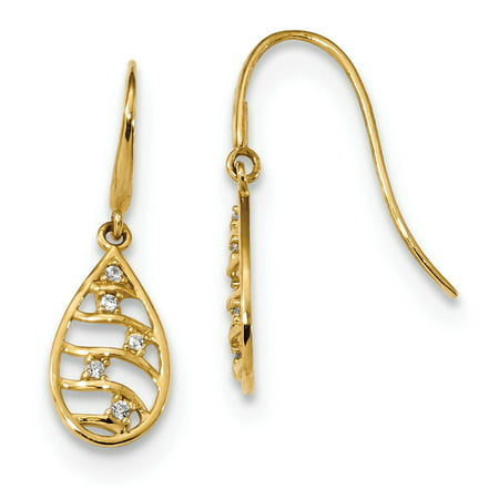 Roy Rose Jewelry 14K Yellow Gold Madi K Teardrop CZ Dangle Wire Earrings