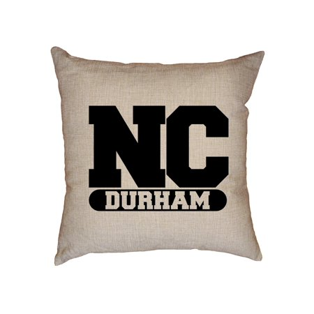 Nc State Pillow - Durham, North Carolina NC Classic City State Sign Decorative Linen Throw Cushion Pillow Case with Insert