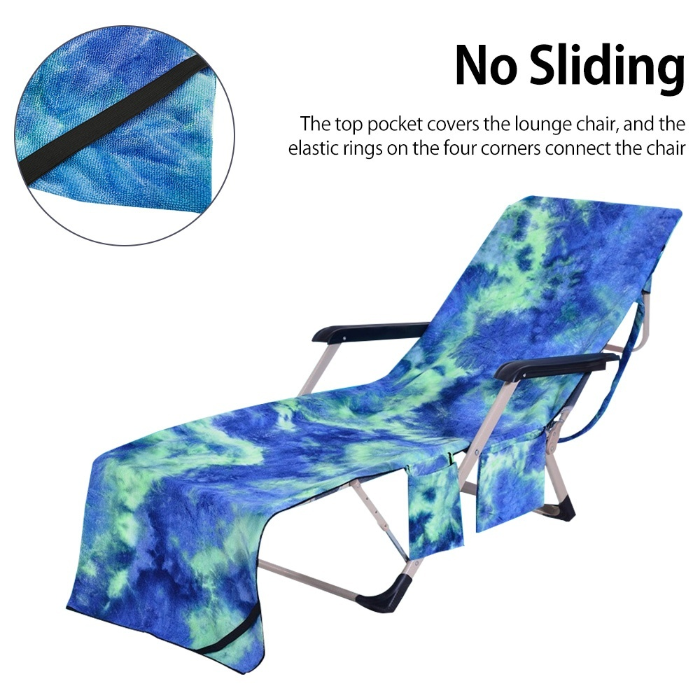 Leisure or Vacation Dark Blue Outdoor Patio Pool Chairs and Recliners Cover Suitable for Swimming Comfortable Beach Chair Cover for Pool Lounge Chairs TUYU Lounge Chair Cover with Pocket