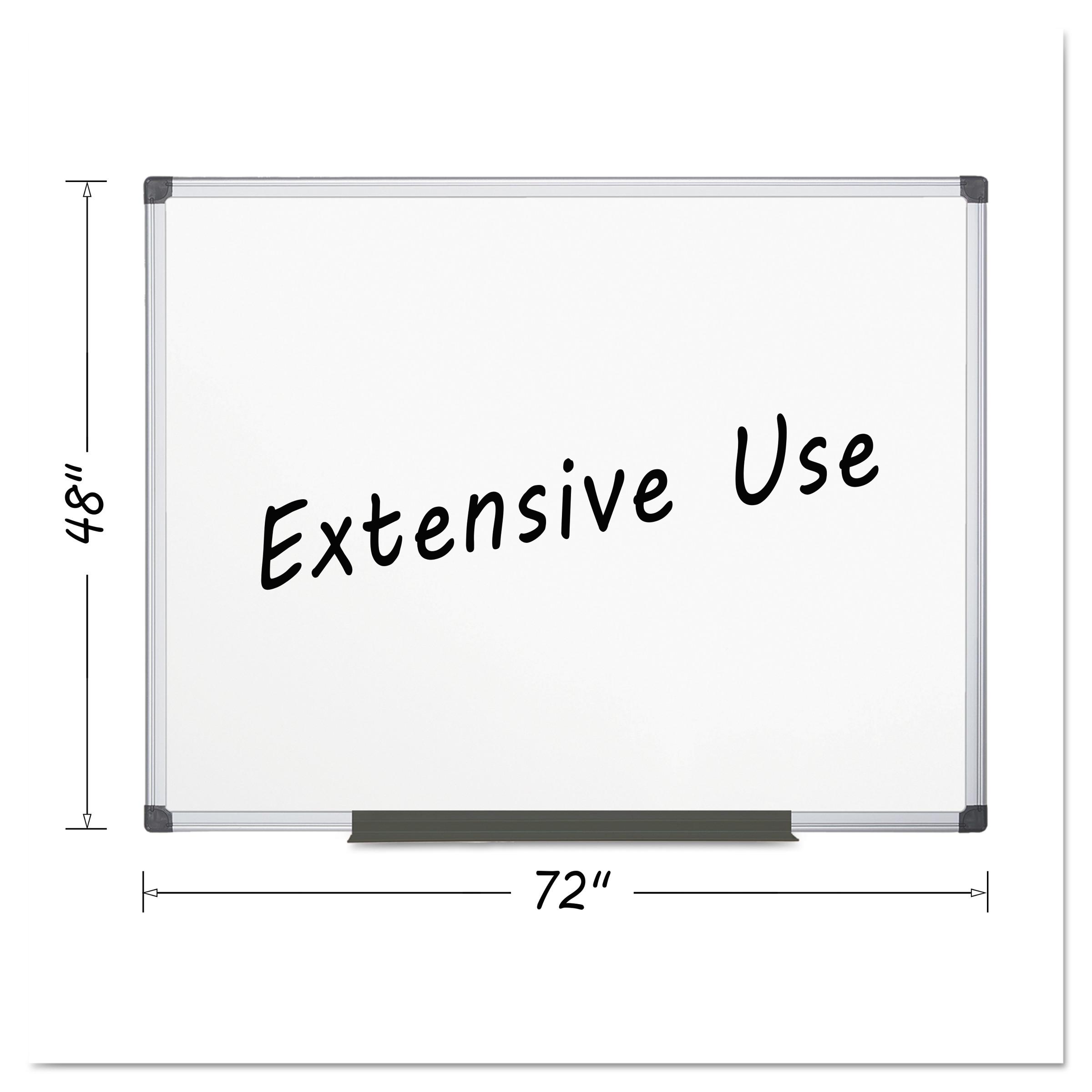 MasterVision Porcelain Value Dry Erase Board, 48 x 72, White, Aluminum Frame