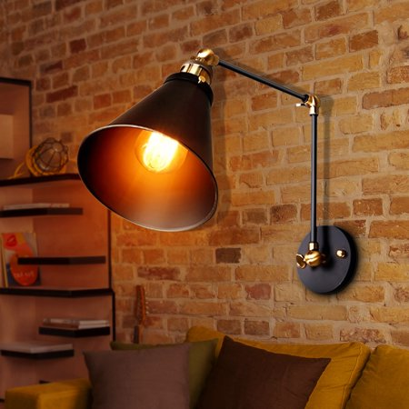 ((No Fix) 270° Vintage Retro Industrial Swing Arm Sconce Wall Light Loft Lamp Metal Lampshade Fixture Fitting for Home Shop Decor)