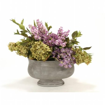 Distinctive Designs International 6907 Lavender, Green Mix of Hydrangeas & Lilacs in Oval Anthracite Concrete Planter ()