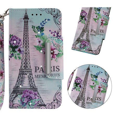 Galaxy J4 Plus Case,Samsung Galaxy J4 Prime Case, Allytech 3D Bling Crystal Rhinestone Slim PU Leather Flip Cover with Card Holder Stand Protective Book Case Cover for Samsung Galaxy J4+, Eiffel Tower