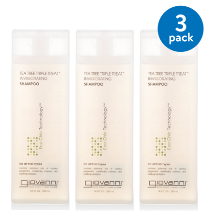 (3 pack) Giovanni Invigorating Shampoo, Tea Tree Triple Treat, 8.5-Ounce