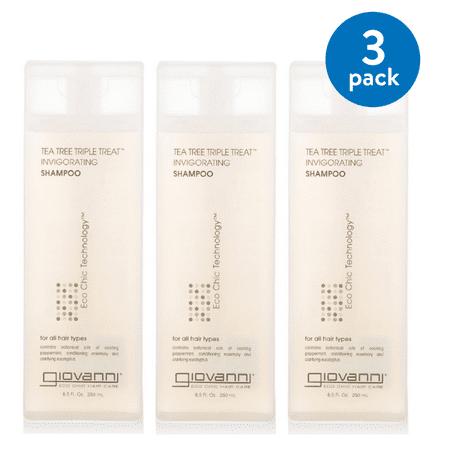 (3 pack) Giovanni Invigorating Shampoo, Tea Tree Triple Treat, 8.5-Ounce Bottles