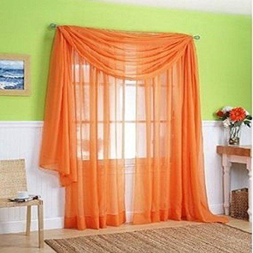 Redbirdlinen 1 Pc Elegant Tangerine Sheer Scarf Voile Window Treatment Panel Valance Curtain 37 By 216 by