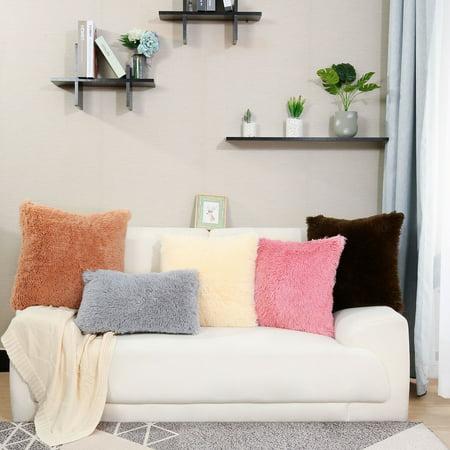 "20"" x 20"" Throw Pillow Case Faux Fur Fuzzy Cushion Cover Dark Pink - image 8 de 8"