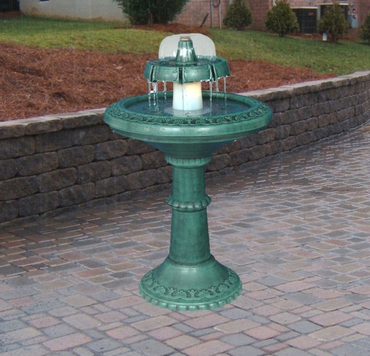 Tiered Bird Bath Water Fountain with Light