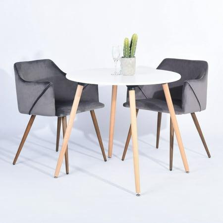 FurnitureR Dining Room Upholstered arm chair (2-piece set),GREY - image 7 de 8