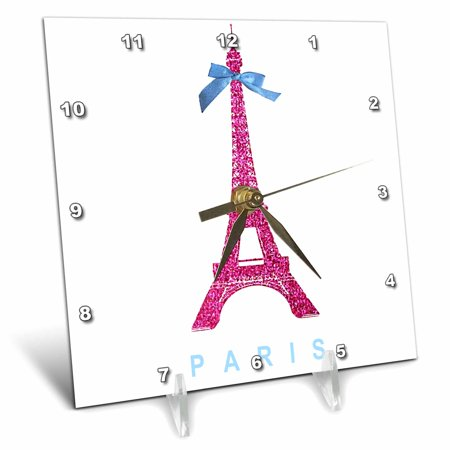 3dRose Hot Pink Eiffel Tower from Paris with girly blue ribbon bow - White stylish Parisian France souvenir, Desk Clock, 6 by (Best Souvenirs From Dc)