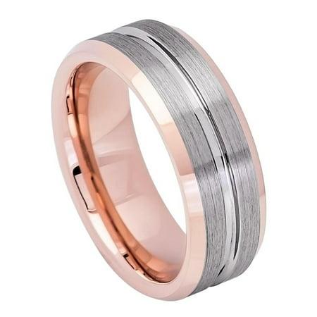 Men Women 8MM Comfort Fit Tungsten Carbide Wedding Band Grooved Center Brushed Gun Metal Tone Ring (7 to 12)