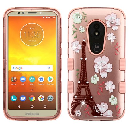 TUFF Series Hybrid Diamond Bling Phone Protector Cover Case and Atom Cloth for Moto E5 Play - 2D Eiffel Tower/Blooming Flowers
