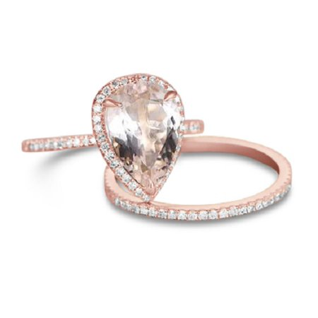 Art Deco 1.5 Carat Pear cut Real Morganite and Diamond Bridal Wedding Ring Set with Engagement Ring and Wedding Band in 18k Gold Over