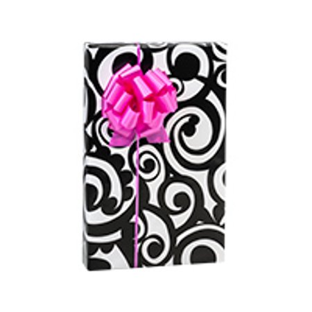 Black and White Bold Scroll Birthday / Special Occasion Gift Wrap Wrapping Paper-16ft (Black And White Wrapping Paper)