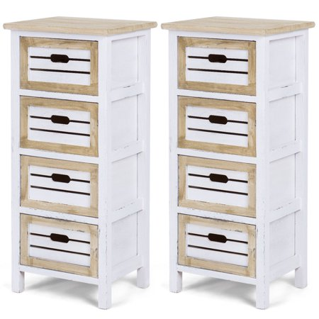 Costway 2PCS Wooden Chest Bedside Table Nightstand Cabinet Side End Table W/4 Drawer (Cabinet End Panels)