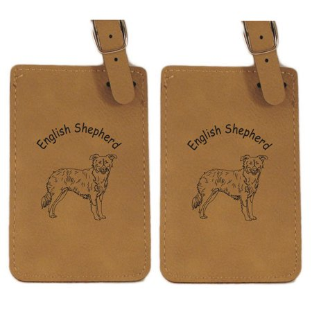 English Shepherd Standing  Luggage Tag 2Pk By Gulf Coast Laser Graphics L3161