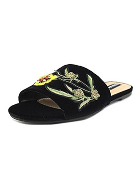 Design Lab Womens Fleur Embroidered Embellished Slide Sandals