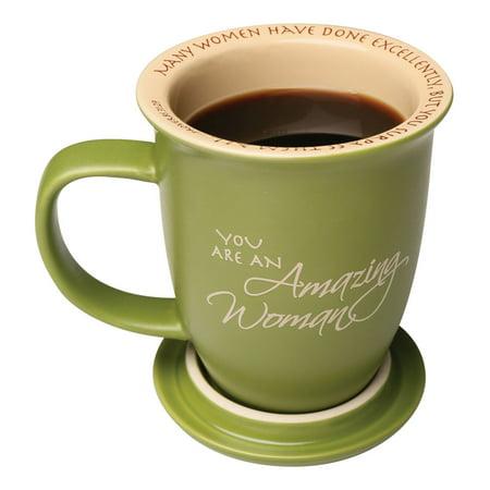 Green 14 Oz Mug - Amazing Woman Green Ceramic 14 Oz. Mug And Coaster