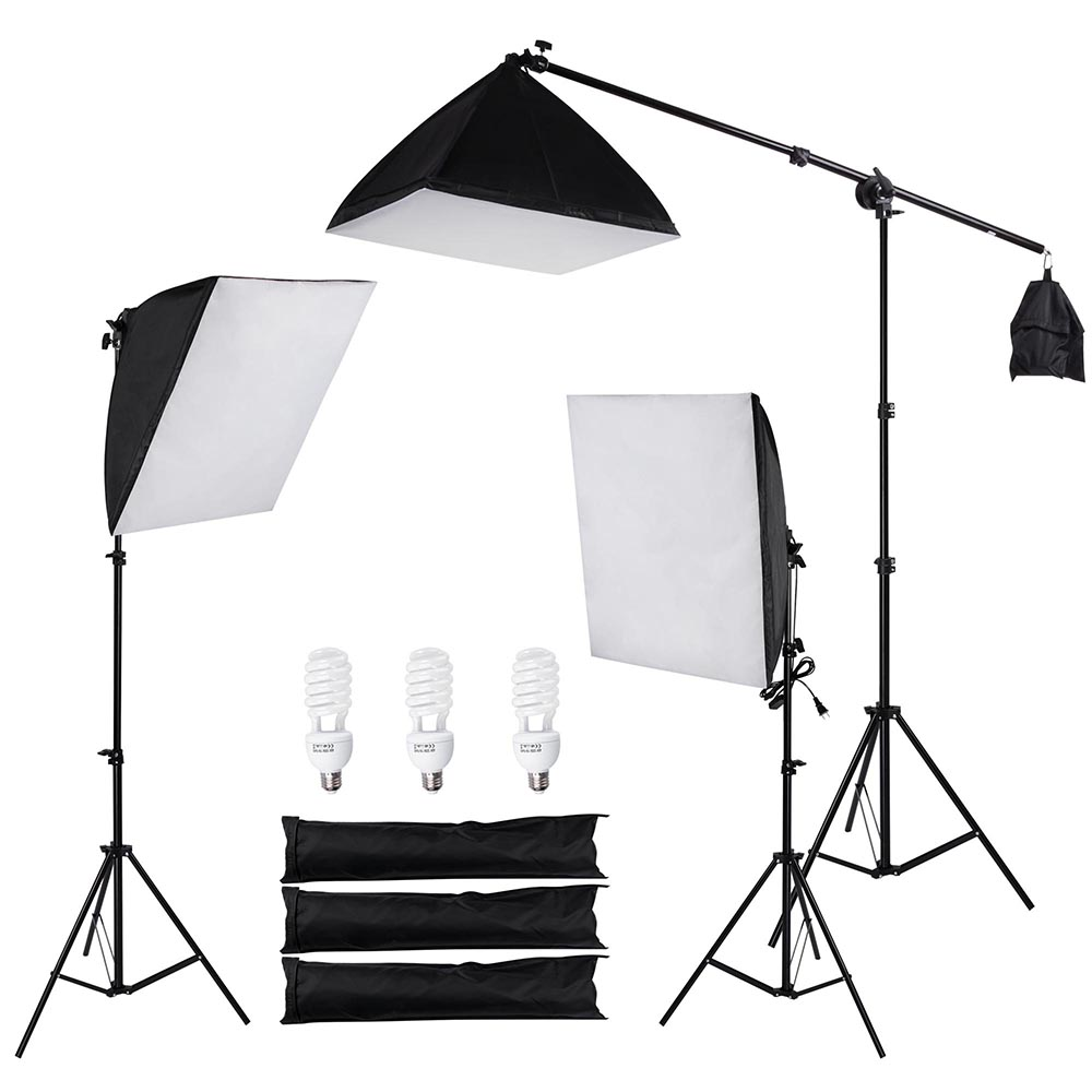 3x 22  Photography Softbox Video Boom Arm Lighting Kit Photo Studio Camera Shooting with 3  sc 1 st  Walmart & 3x 22