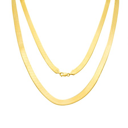 10K Yellow Gold Solid 8mm Polished Silky Flat Herringbone Chain Necklace, 16