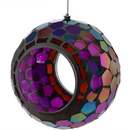 Birds Choice Hanging - Sunnydaze Outdoor Fly Through Wild Bird Feeder, Unique Hanging Round Mosaic Glass Design, 6 Inch