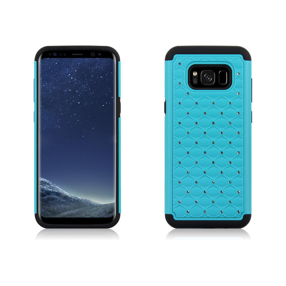 MUNDAZE Teal Mint Diamond Double Layered Case For Samsung Galaxy S8 Phone