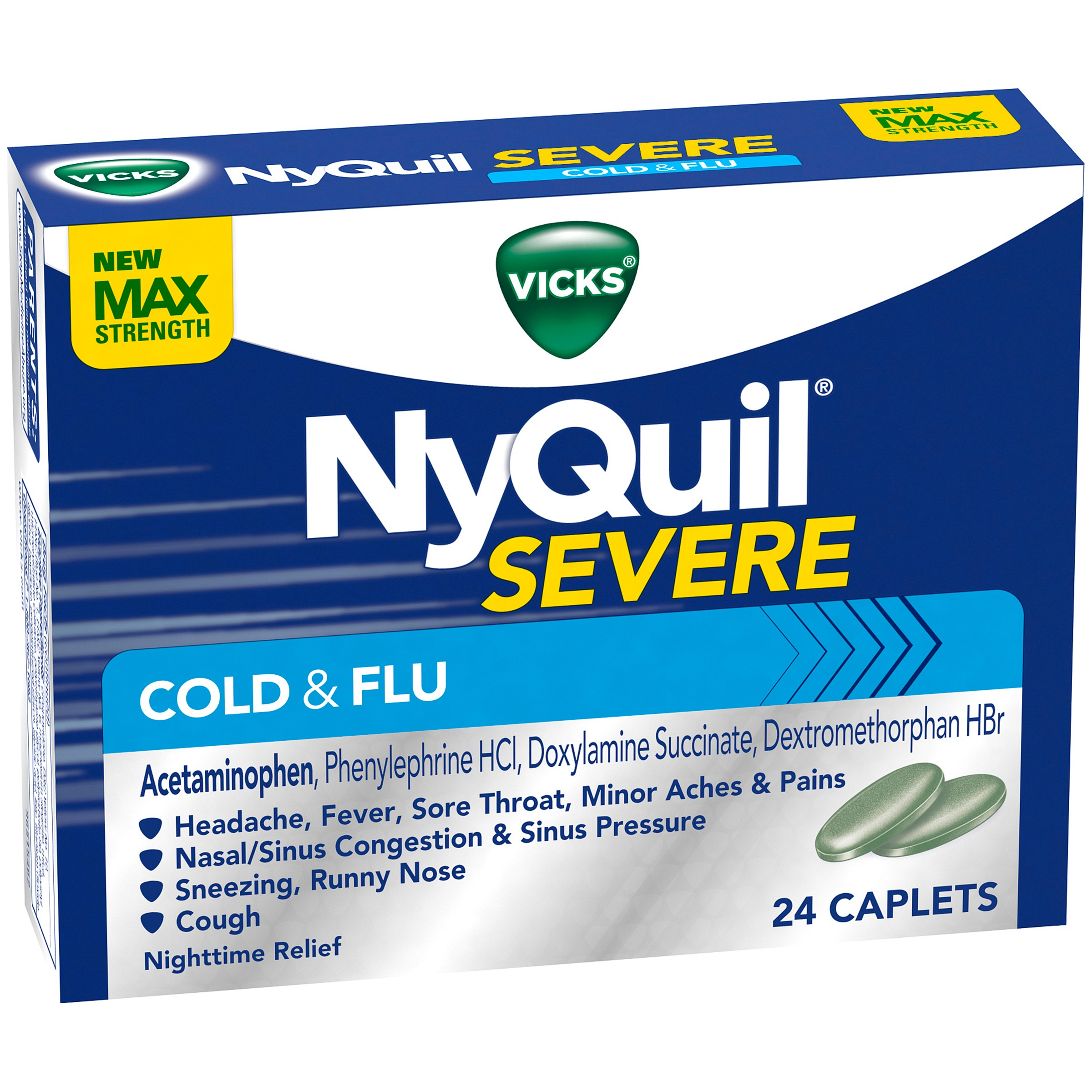 Vicks NyQuil Severe Cold & Flu Nighttime Relief Caplets 24 ct Box