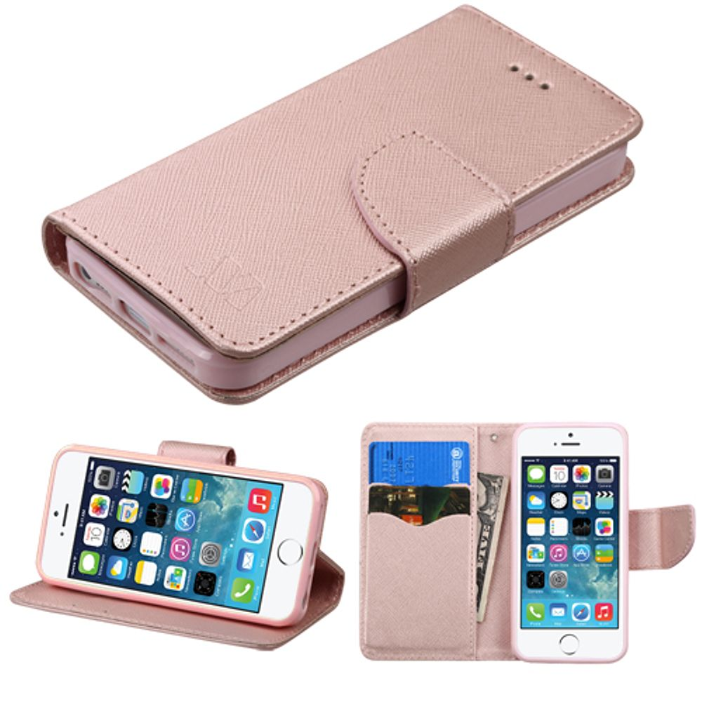 Insten Book-Style Leather Wallet Fabric Case w/stand/card slot For Apple iPhone SE / 5 / 5S - Rose Gold