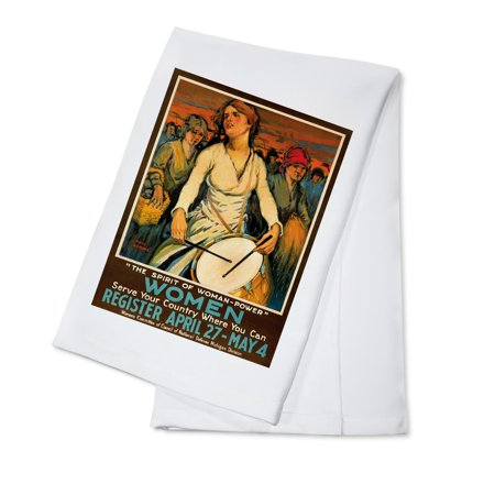 The Spirit of Woman - Power Vintage Poster (artist: Paul Honore) USA c. 1918 (100% Cotton Kitchen Towel) (Spirit Usa)
