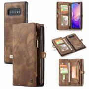 Galaxy S10 Plus Wallet Case, Alleytech 2 in 1 Handmade Leather Zipper Wallet Case with Detachable Cover & Card Cash Pocket + Magnetic Clasp Closure for Samsung Galaxy S10 Plus 2019, Darkbrown