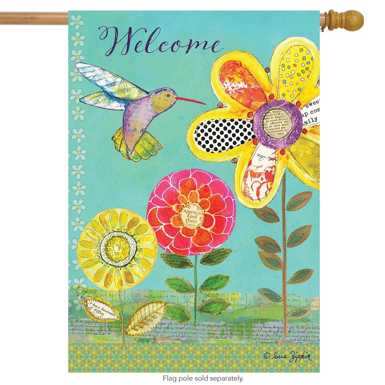 "Hummingbird Garden Spring House Flag Welcome Primitive Floral 28"" x 40"""