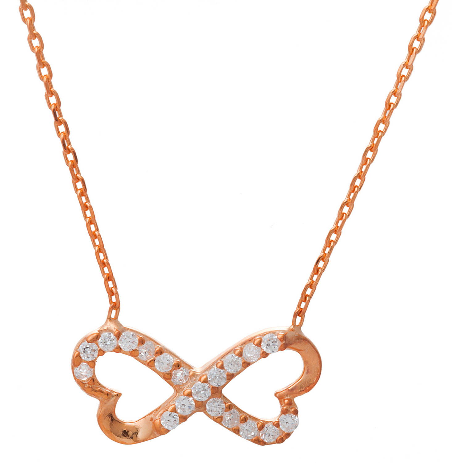 Angelique Silver CZ 18kt Rose Gold over Sterling Silver Open Infinity Butterfly Necklace