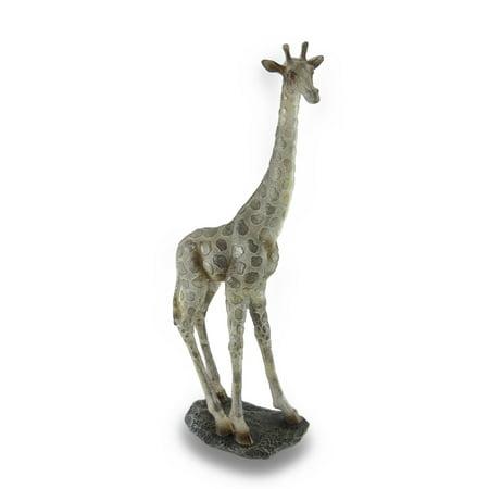 Elegant Standing Giraffe Shimmering Gold Finish Beige Statue