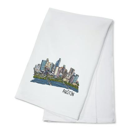 Austin, Texas - Cityscape - Line Drawing - Lantern Press Artwork (100% Cotton Kitchen Towel)](Halloween Stores Austin Texas)