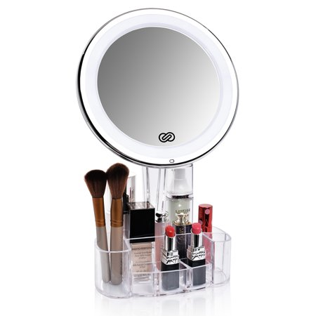 Lighted Vanity Mirror Battery Operated : Sanheshun 5X Magnifying Lighted Makeup Mirror with Vanity Tray Stand, Touch Activated, Battery ...