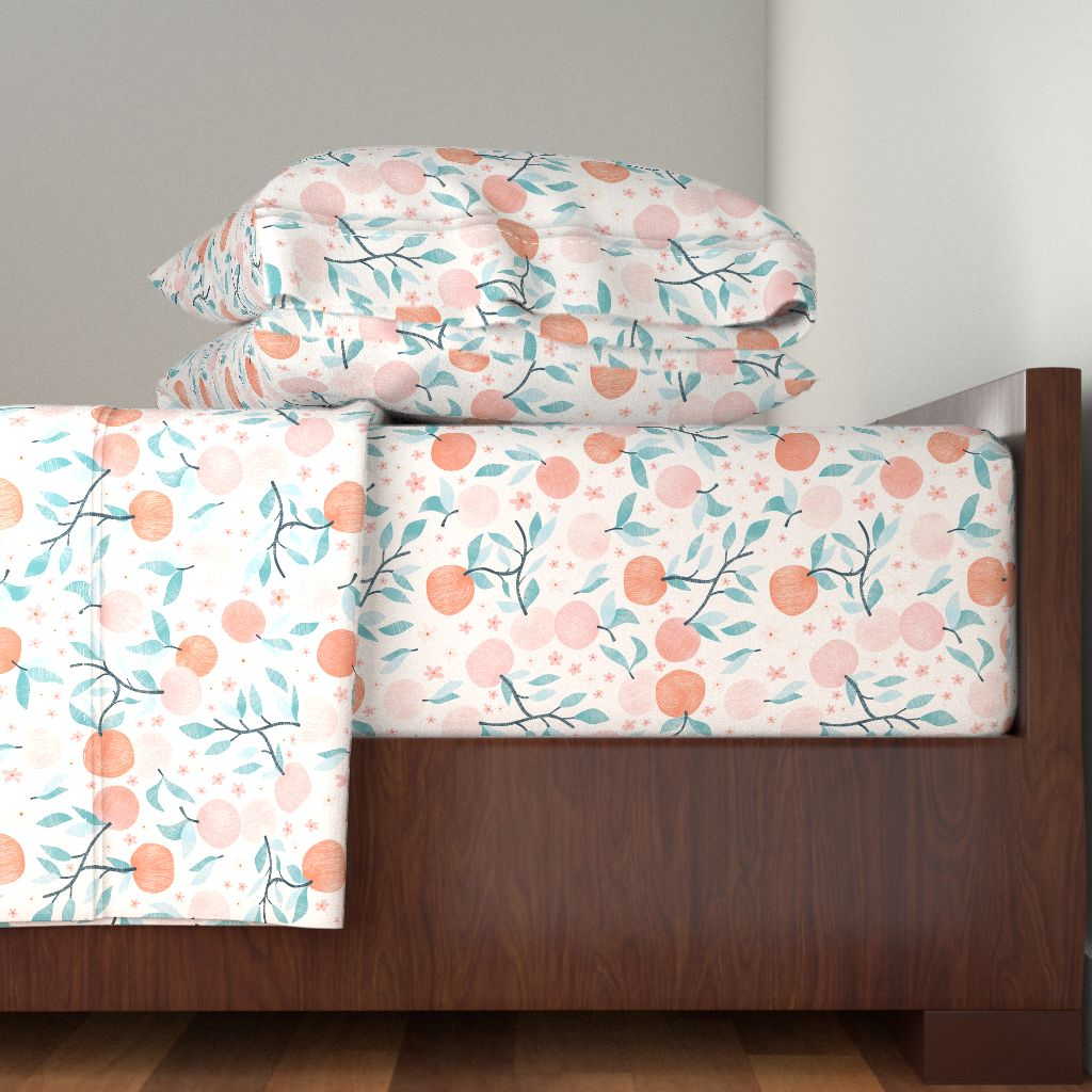 Feminine Sweet Romantic Delicate Peach 100% Cotton Sateen Sheet Set by Roostery