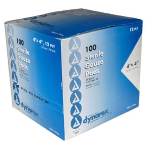 Gauze Pads Sponge Sterile By Dynarex, 12 Ply 4 In X 4 In - 100 Ea