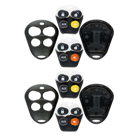 2 PACK KeylessOption Keyless Entry Remote Control Starter Car Key Fob Case  Shell Outer Cover Button Pads For Viper Automate Alarms