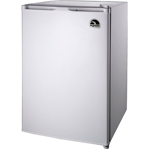 white refrigerator. igloo 4.5 cu ft refrigerator and freezer white
