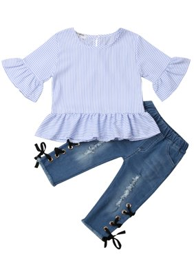 Pudcoco Toddler Kids Baby Girl Stripe Tops Shirt Ripped Denim Pants Jeans Outfit