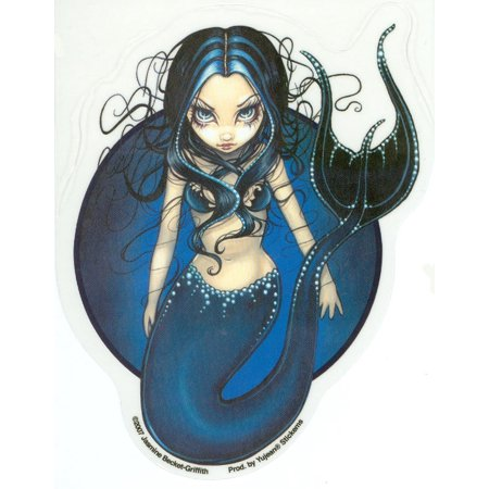 Blue Mermaid of the Deep by Jasmine Becket-Griffith - Sticker / Decal - UV In/Out Weather Protected, Extra Long Lasting](Mermaid Stickers)