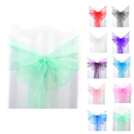 1pcs Organza Sashes Chair Cover Bows Sash Fuller Bow for Wedding Party Birthday Banquet Event Decoration Red - Tiffany Blue And Grey Wedding