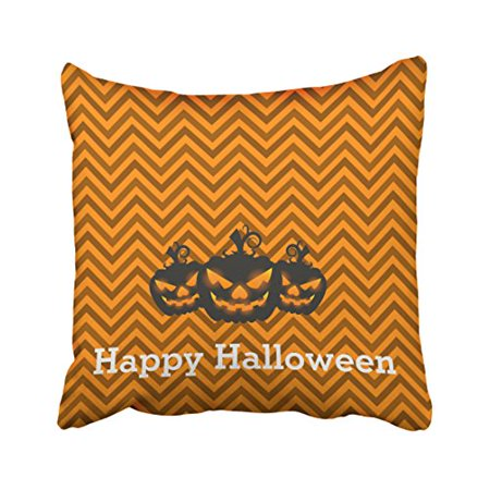 WinHome Decorative Pillowcases Fun Happy Halloween Chevron Pattern With Pumpkin Throw Pillow Covers Cases Cushion Cover Case Sofa 18x18 Inches Two Side - Best Halloween Pumpkin Patterns