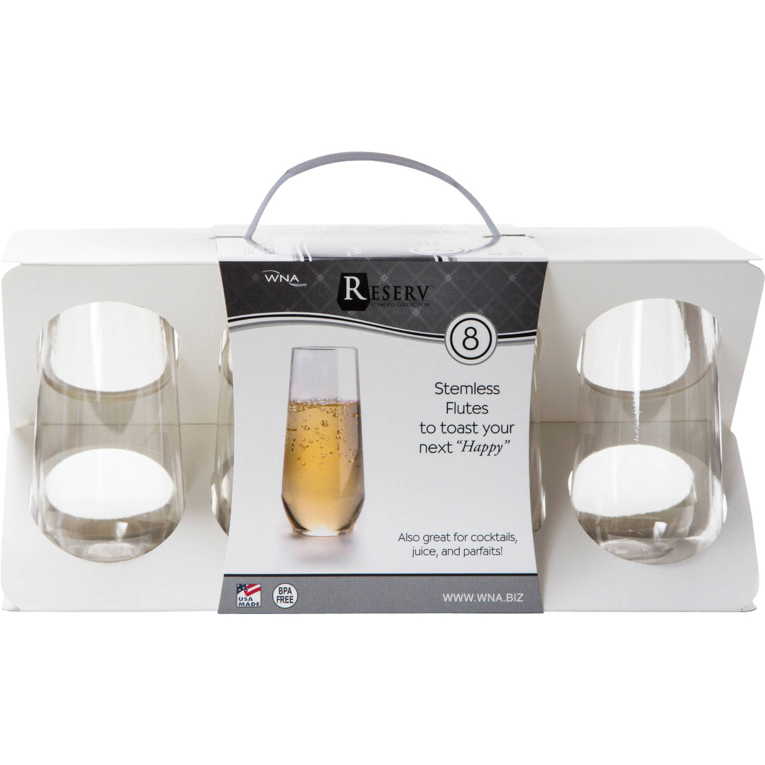 WNA Reserv Stemless Flutes Champagne Glasses, 8 count
